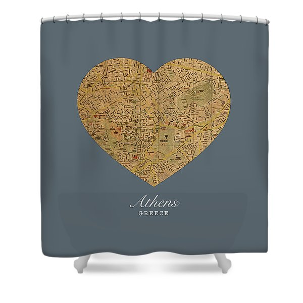 I Heart Athens Greece Street Map Love Series No 099 Shower Curtain