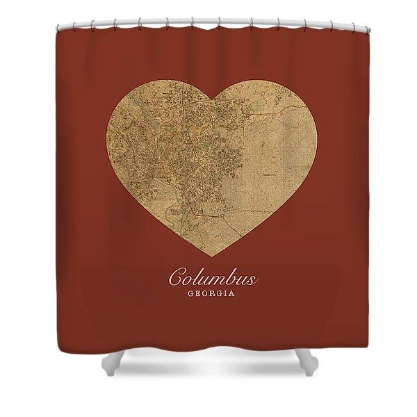 I Heart Columbus Georgia Street Map Love Series No 117 Shower Curtain