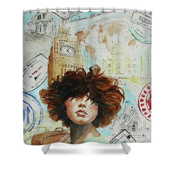 I Live Therefore I Travels Shower Curtain