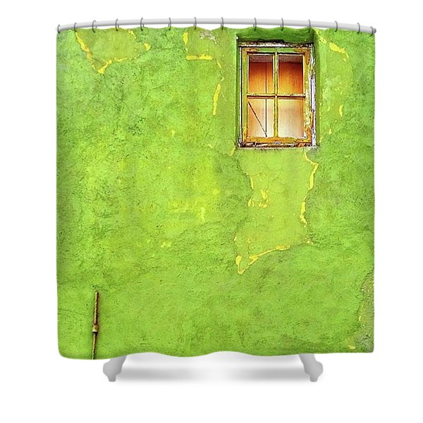 Window On Green Wall In Norway Shower Curtain