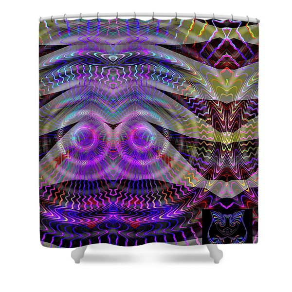 Shower Curtain featuring the digital art I See You by Visual Artist Frank Bonilla