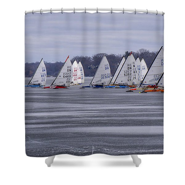 Ice Boat Racing - Madison - Wisconsin Shower Curtain