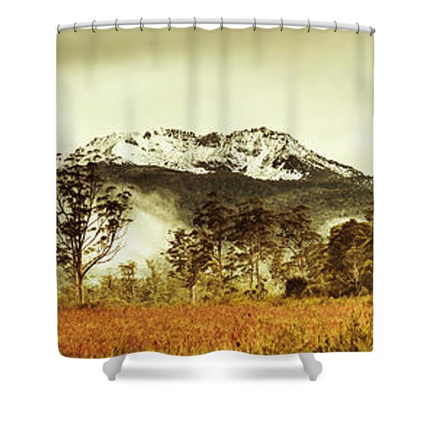 Ice Covered Mountain Panorama In Tasmania Shower Curtain