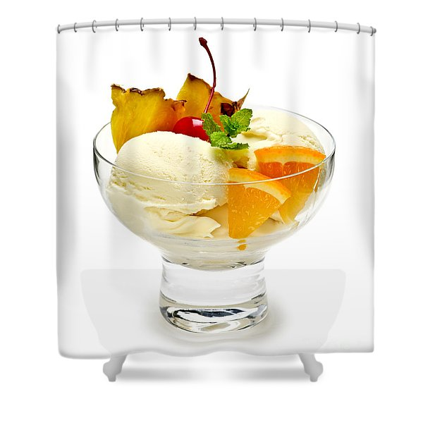Ice Cream With Fruit Shower Curtain