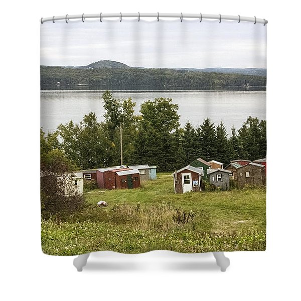 Ice Houses In Vermont Shower Curtain