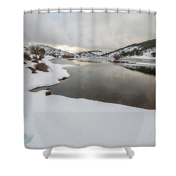 Ice In The River Shower Curtain