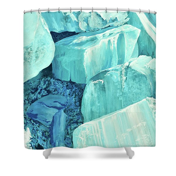 Ice Pushed Up On A Lake Shower Curtain