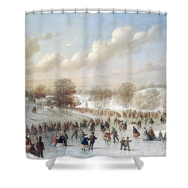 Ice Skating, 1865 Shower Curtain