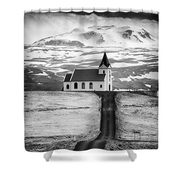 Iceland Ingjaldsholl Church And Mountains Black And White Shower Curtain
