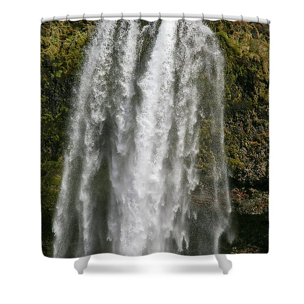 Iceland Skogafoss Waterfall Legend Shower Curtain