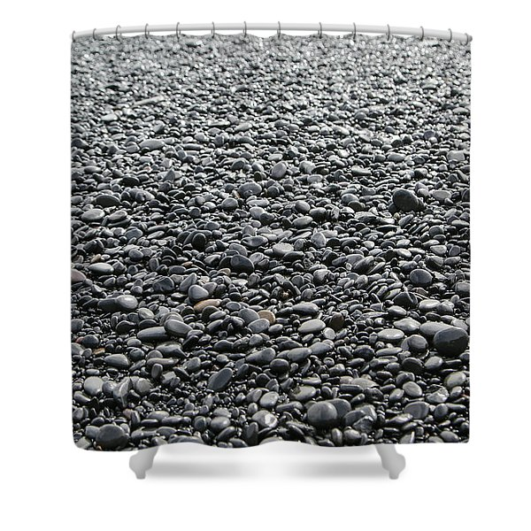 Iceland Weathered Lava Beach Stones  Shower Curtain