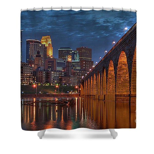 Iconic Minneapolis Stone Arch Bridge Shower Curtain