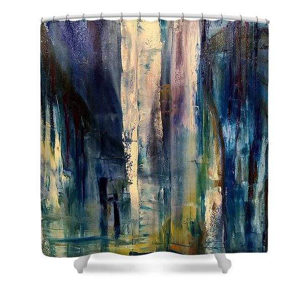 Icy Cavern Abstract Shower Curtain
