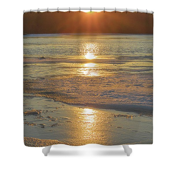 Icy Sunset Shower Curtain