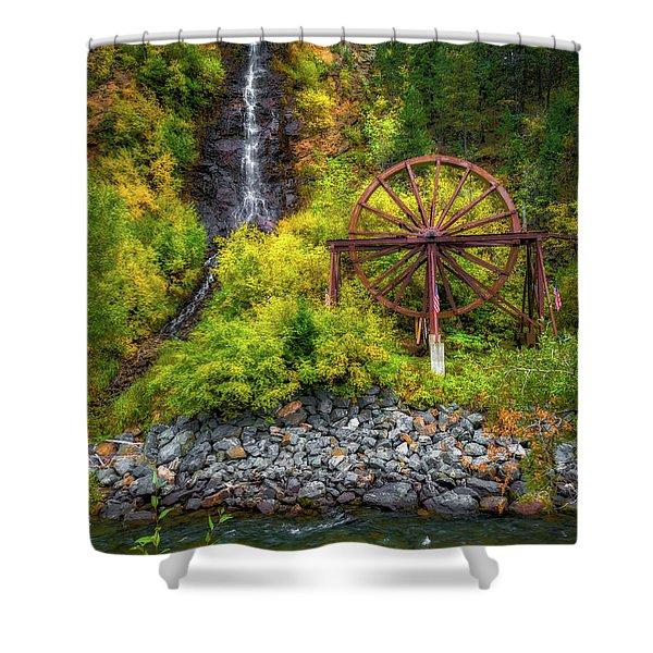 Idaho Springs Water Wheel Shower Curtain