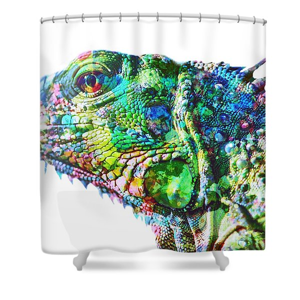 Shower Curtain featuring the painting Iguana by Mark Taylor
