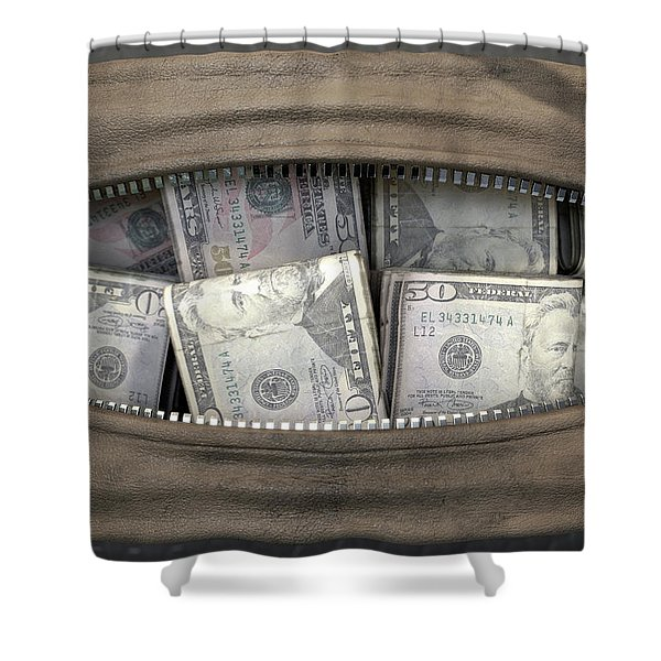 Illicit Cash In A Brown Duffel Bag Shower Curtain