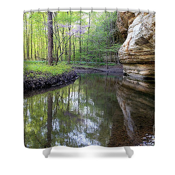 Illinois Canyon In Spring Starved Rock State Park Shower Curtain