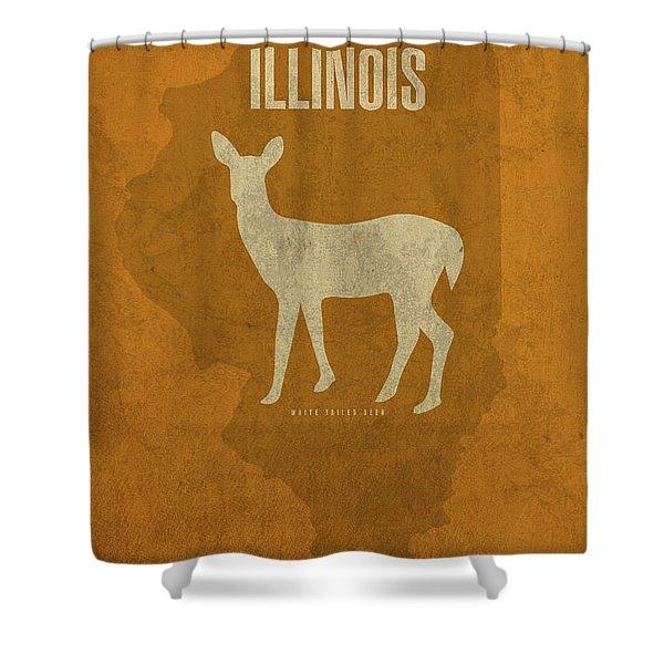Illinois State Facts Minimalist Movie Poster Art Shower Curtain