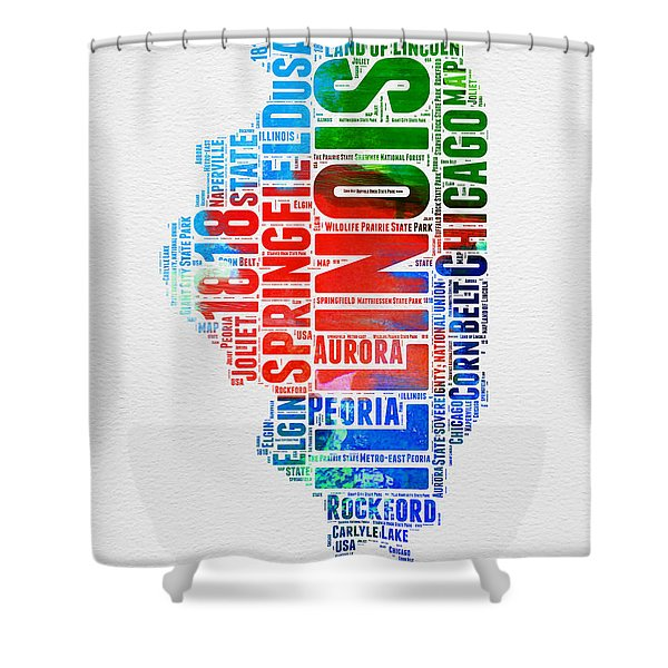 Illinois Watercolor Word Cloud Map  Shower Curtain
