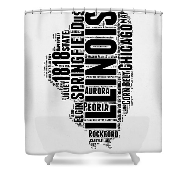 Illinois Word Cloud Map 2 Shower Curtain