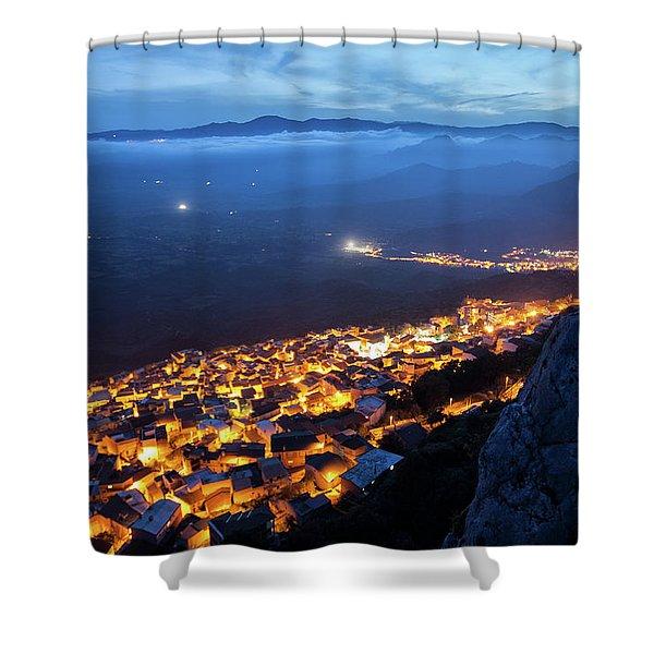 Illuminated Country At Night Shower Curtain