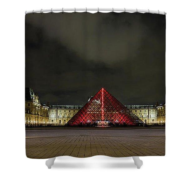 Illuminated Louvre Museum, Paris Shower Curtain
