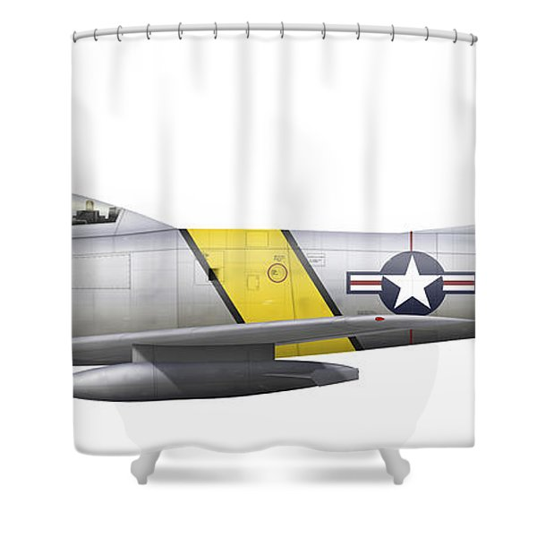 Illustration Of A North American F-86f Shower Curtain by Chris Sandham-Bailey