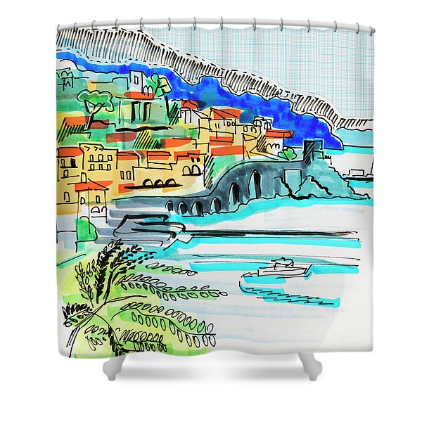illustration of travel, Spain Shower Curtain