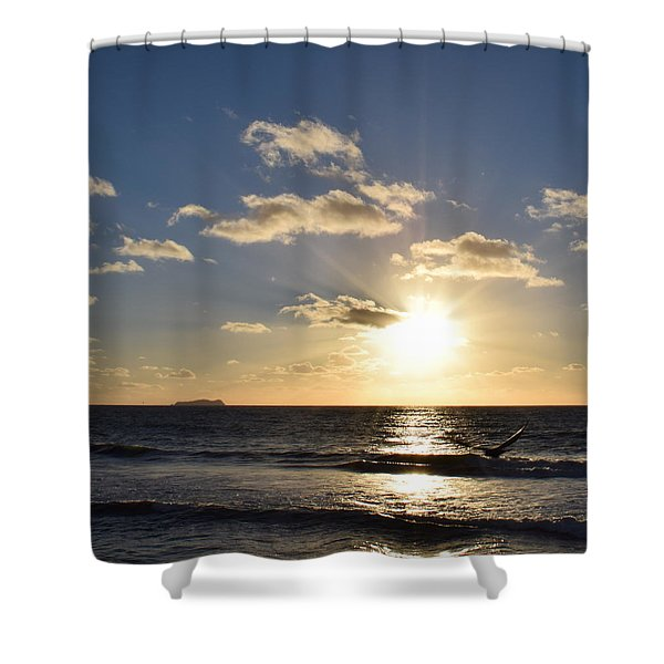 Sunset Reflection At Imperrial Beach Shower Curtain