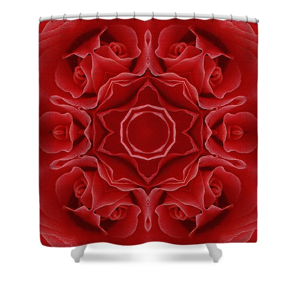 Imperial Red Rose Mandala Shower Curtain