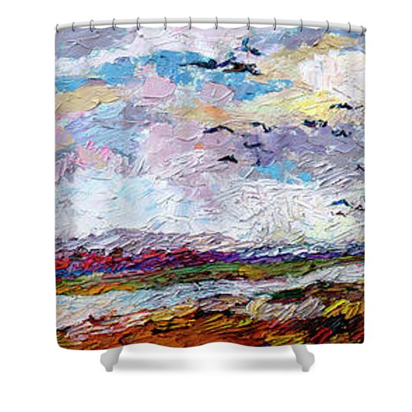 Impressionist Autumn Panoramic Landscape Bird Migration Shower Curtain