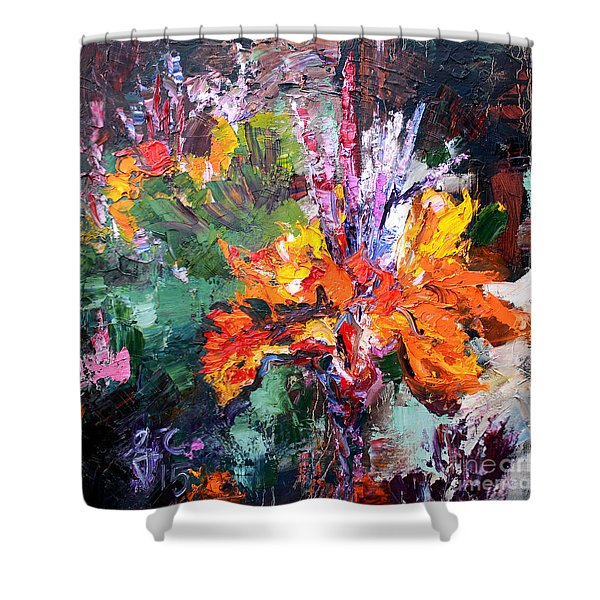 Impressionist Canna Flower Oil Painting  Shower Curtain