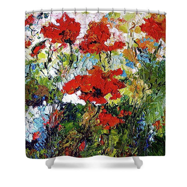 Impressionist Red Poppies Provencale Shower Curtain