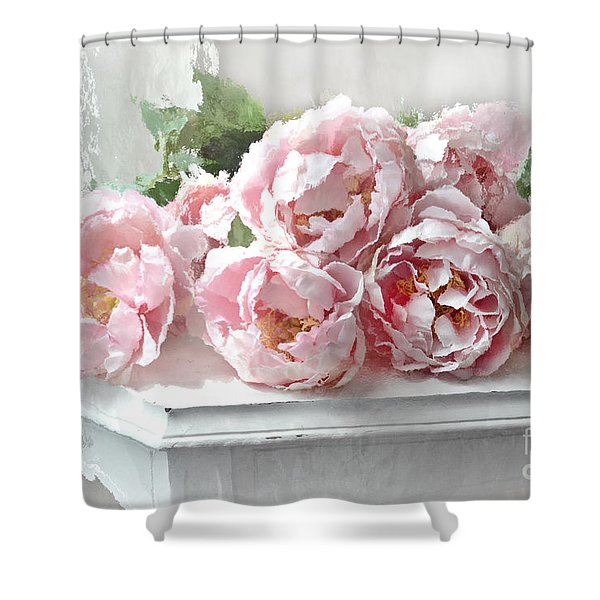 Impressionistic Watercolor Pink Peonies - Pink And White Romantic Shabby Chic Still Life Peonies Art Shower Curtain