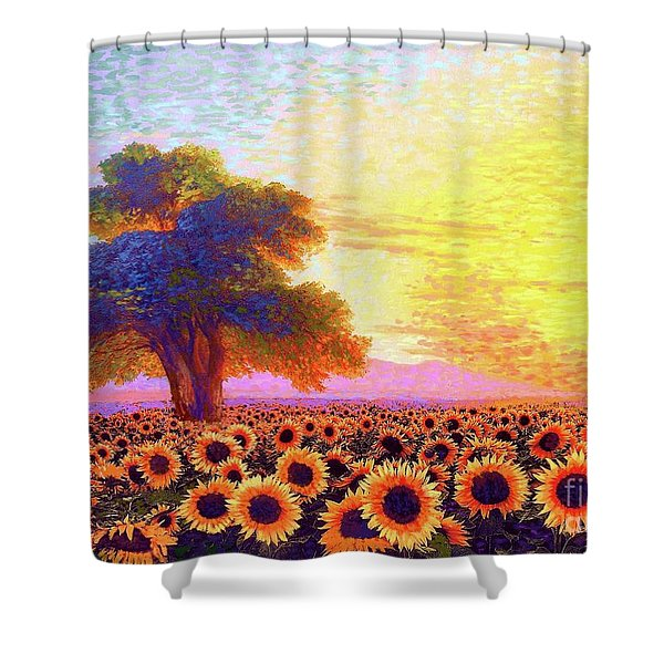 In Awe Of Sunflowers, Sunset Fields Shower Curtain