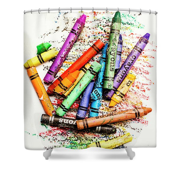 In Colours Of Broken Crayons Shower Curtain