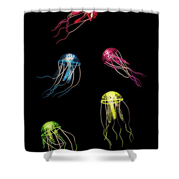In Colours Of Swirling Jellyfishes  Shower Curtain