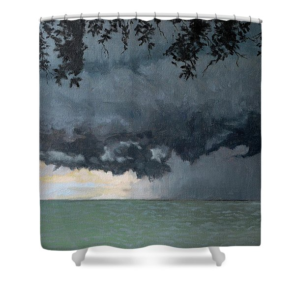 In Coming Storm-epping Forest On The Lake Shower Curtain