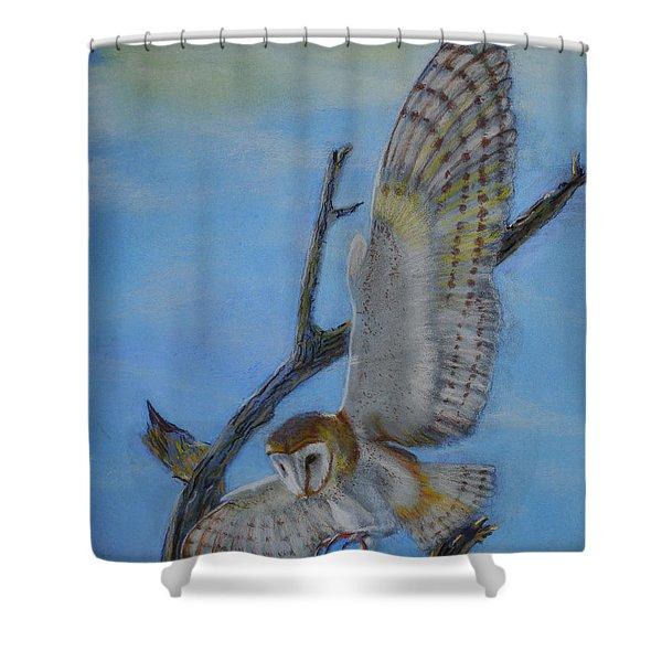 In Flight Barn Owl Shower Curtain
