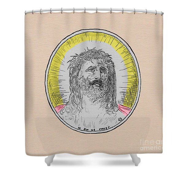 In Him We Trust Colorized Shower Curtain
