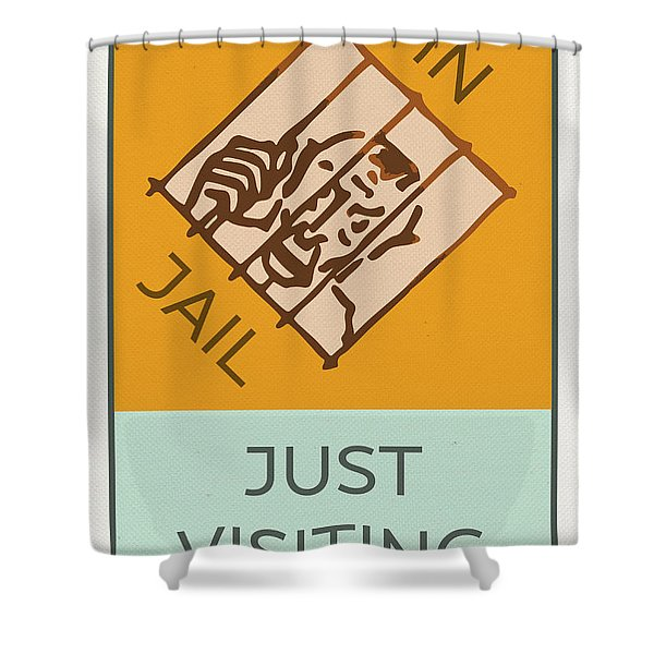 In Jail Or Just Visiting Vintage Monopoly Board Game Theme Card Shower Curtain