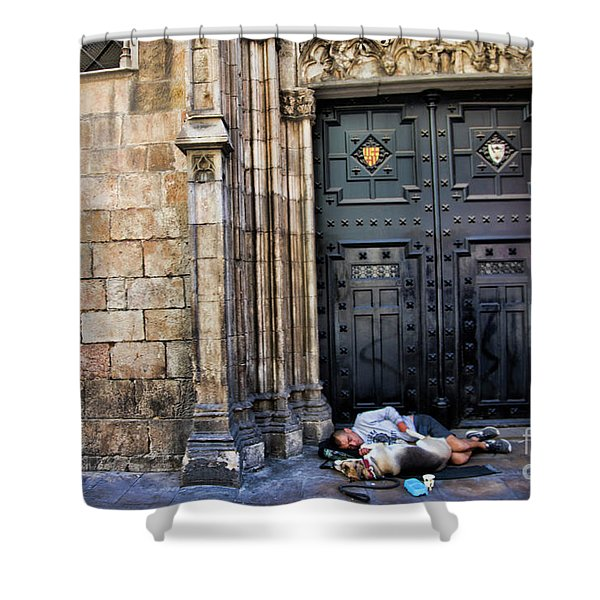 In Need Boy And Dog Barcelona  Shower Curtain