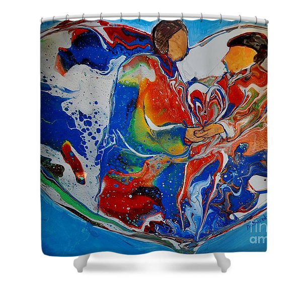 Shower Curtain featuring the painting In One Accord by Deborah Nell
