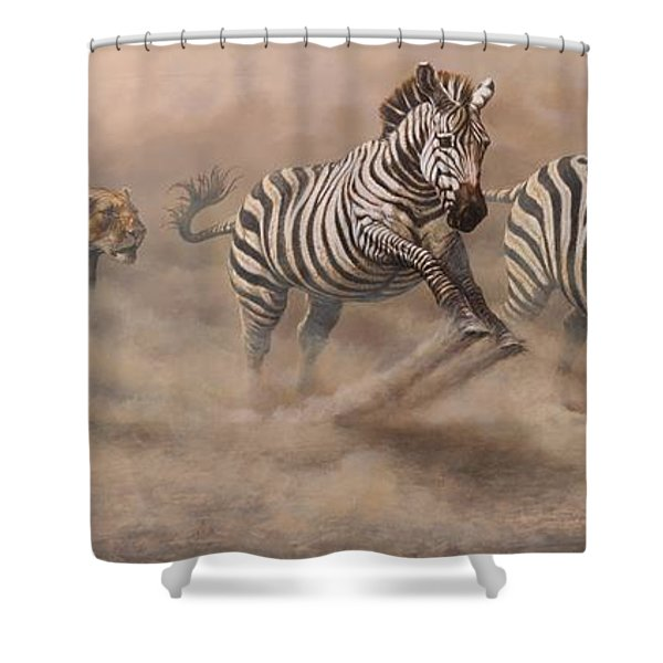 Shower Curtain featuring the painting In Pursuit by Alan M Hunt