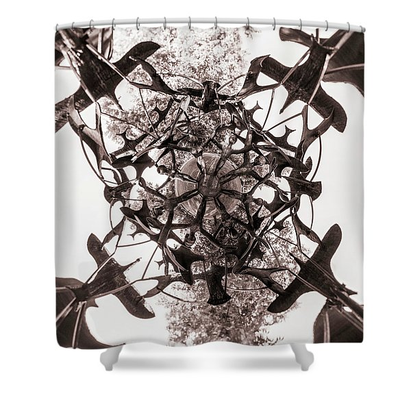 In The Center Of Seven Under Birds Bw - Tiny Planet Shower Curtain