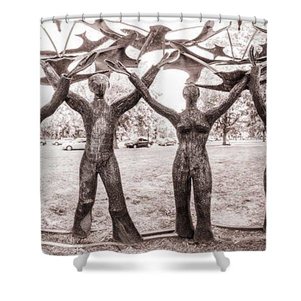 In The Center Of Seven Under Birds - Panorama Shower Curtain