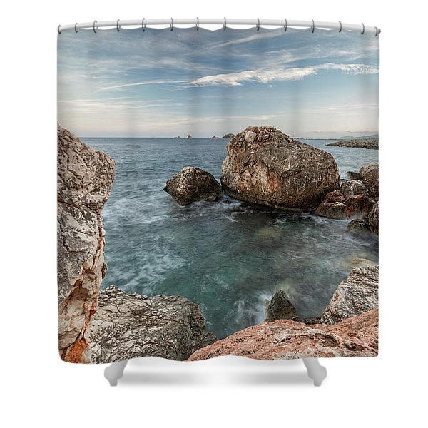 In The Middle Of The Rocks Shower Curtain
