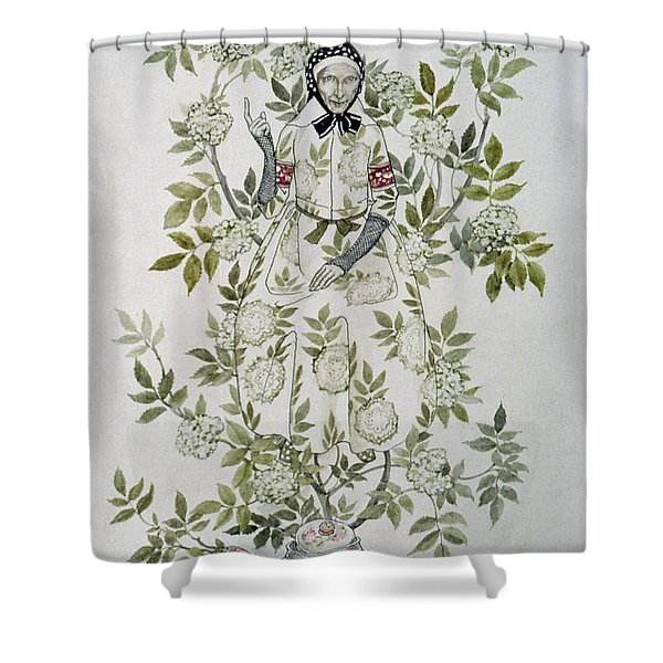 In The Midst Of A Tree Sat A Kindly Looking Old Woman' Shower Curtain