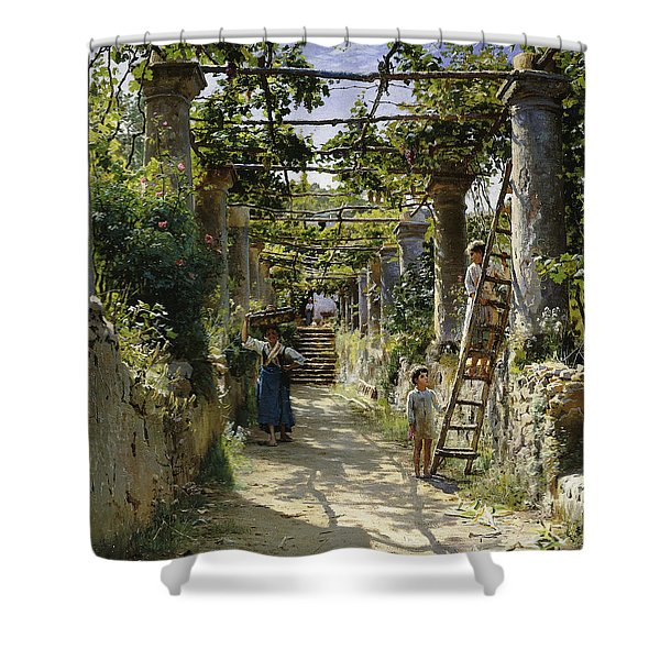 In The Shadow Of An Italian Pergola Shower Curtain